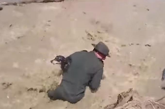 命の重みに違いはない!濁流に飲まれ溺れた犬を懸命に救助する警察官の姿に感動