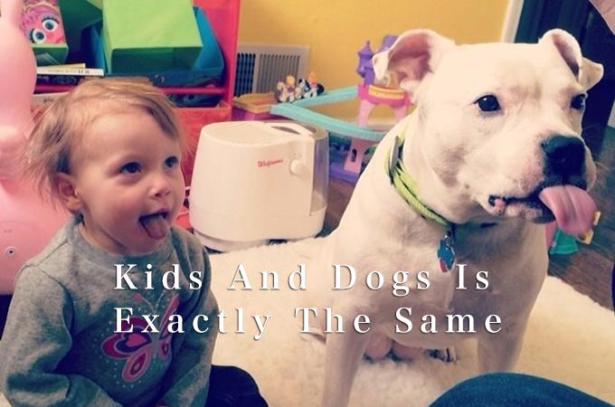 一心同体。双子のように同じポーズをする愛犬と子供の可愛い画像集