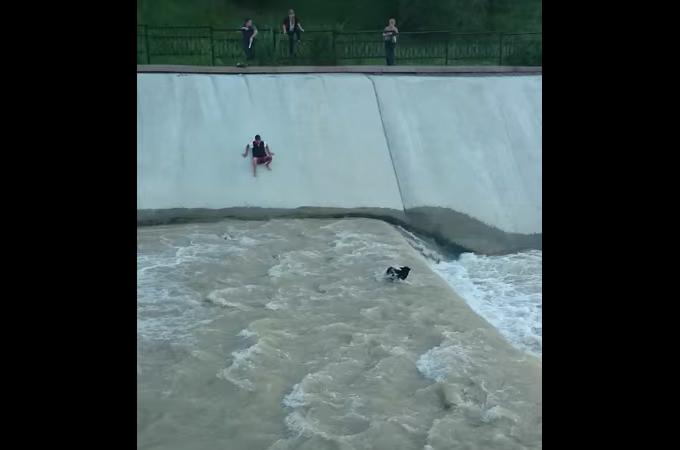 川に落ちてしまった犬を救うため大勢の男たちが力を合わせる