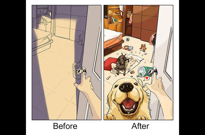 愛犬をお迎えする前と、お迎え後の生活の変化を描いた愛らしいイラスト