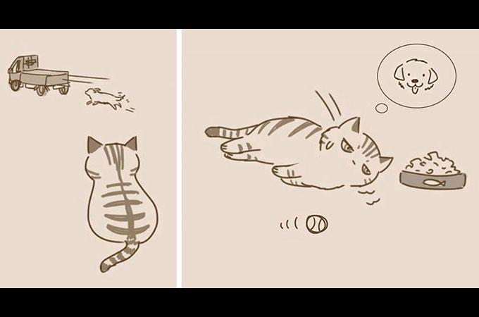 気分屋に見られがちな猫の遠回りだけど優しい心を持つそんな姿を描いた愛らしい漫画が話題に
