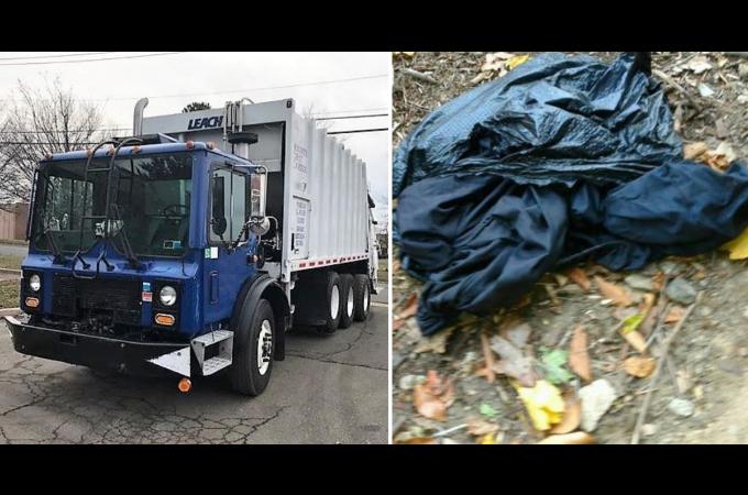 ゴミ収集車の作業員がゴミの中から甲高い鳴き声がするのに気付き、中を確認するとガソリンまみれの子猫が発見される