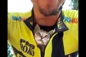 サイクリング中に子猫に遭遇した男性。母猫の存在いないか確認し、その後無事に家族となる
