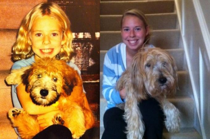 子供の頃にペットと撮った写真!大人になってからペットと撮った写真!比べて感じる時間の経過と成長!