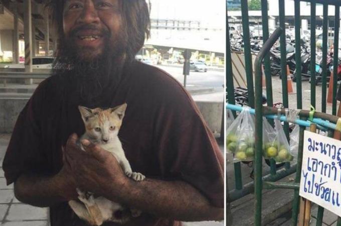 猫のためにライムを売るホームレスの男性。あることがきっかけとなり世界中で話題に!その後、人生が変わる!