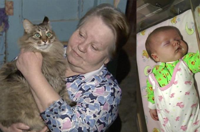 極寒のロシアの地下室に捨てられていた人間の赤ちゃんを救った野良猫。素晴らしいと賞賛の声が相次ぐ。