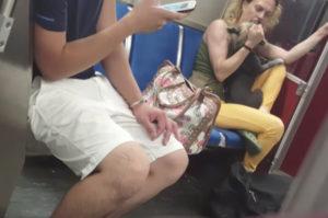 地下鉄で飼い主が愛犬を掴んだり叩いたりする動画が撮影され、動物虐待として乗客から注意される。