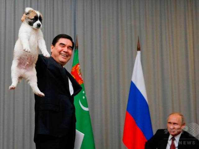 プーチン大統領が犬を贈呈される時の犬を扱う様子が酷すぎると話題に!7枚