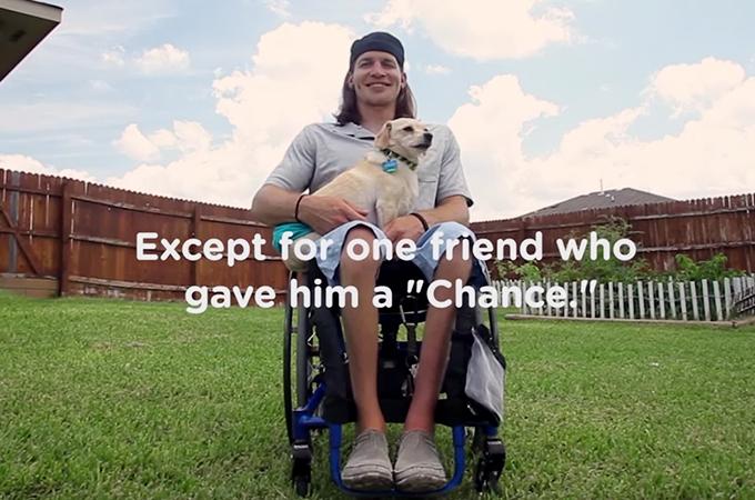 足の不自由な犬を引き取ったのは同じく車椅子に乗った一人の男性