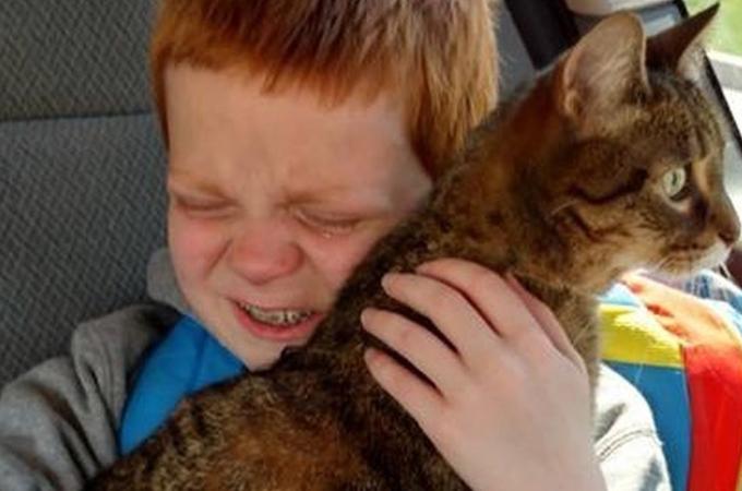 自閉症の少年が行方不明になった愛猫と再会。愛猫を抱き寄せる姿に思わず涙