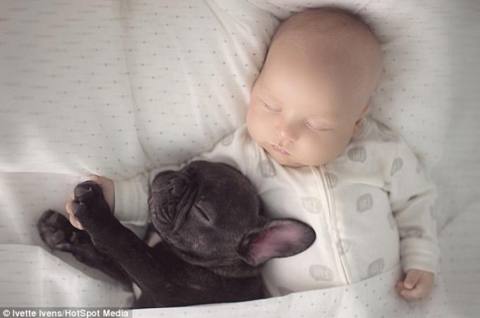 同じ日に生まれた赤ちゃんと子犬。カメラマンである母が記録した写真に写るもの