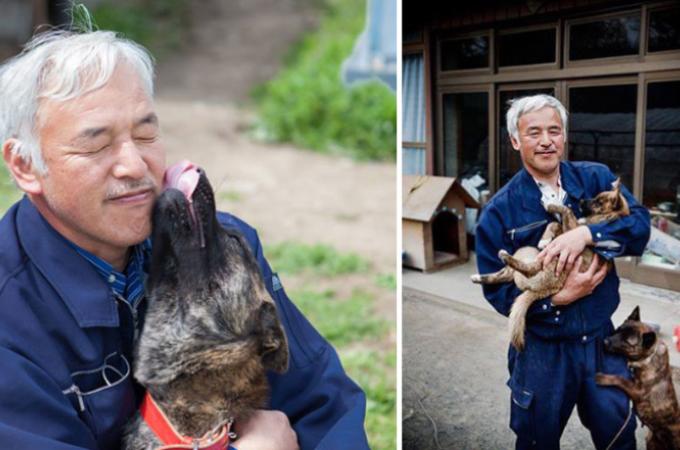 原発事故発生後も警戒地区に残り、取り残された動物たちのお世話をする1人の男性。