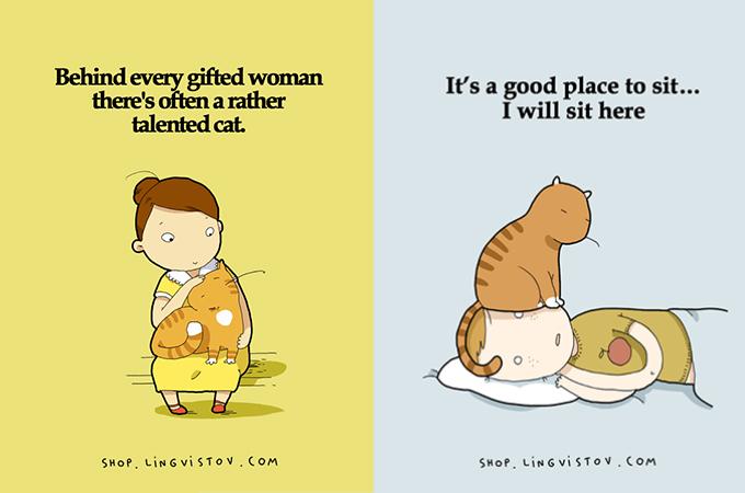【あるある】猫好きにしか分からない、猫の本音を表したイラスト15枚