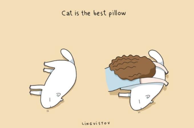 ゆるいタッチのイラストで紹介する、ネコを飼ってよかったと思う19のこと。