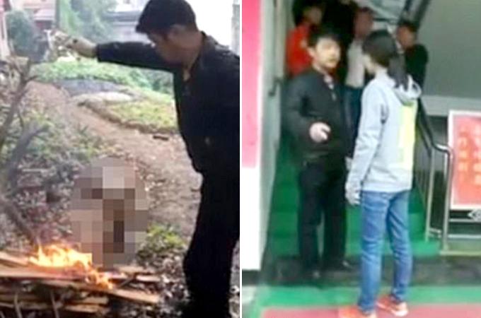 縄で縛り生きたまま子犬を火あぶりにし、その様子を撮影しSNSに投稿した中国の男性。世界中から批難される。